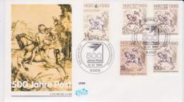 Austria, Germany, Berlin, Belgium & DDR FDC 1990 500 Jahre Post Posted Bonn (G44-16) - Gemeinschaftsausgaben