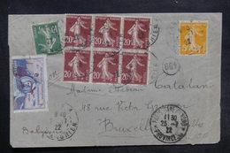 FRANCE - Enveloppe De Paris Pour La Belgique En 1922 Par Avion , Vignette Guynemer , état Voir Dos  - L 36468 - Postmark Collection (Covers)