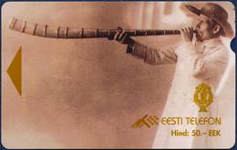 ESTONIA - ESTLAND - ESTONIE EESTI TELEFON 50 UNITS EEK ALCATEL MAGNETIC PHONECARD TELEPHONE CARD MUSIC PLAYING THE HORN - Estland