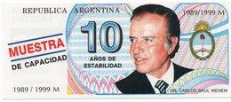 ARGENTINA -10 Años De Estabilidad - Menem Presidente-EMISIONE DI FANTASIA-UNC - Argentina