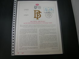 "BELG.1985 2198 FDC Filatelic Gold Card NL. : "" ZILVEREN BRUILOFT 1960-85 "" - 1981-90"