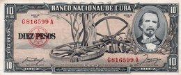CUBA 10 PESOS 1958 P-79 AUNC - Cuba