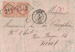 GERS - AUCH - EMPIRE N°23 EN PAIRE - SUR LETTRE DU 9-12-1867 - ENTETECLEMENT PELLEFIGUE AGENT DE CHANGE A AUCH - Marcofilie (Brieven)