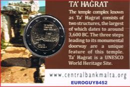MALTA - COINCARD 2 € COM. 2019 BU - TEMPEL VAN TA HAGRAT (MET MUNTMERKTEKEN) - Malte