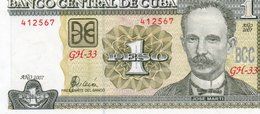 CUBA 1 PESO 2007 P-128 UNC - Cuba