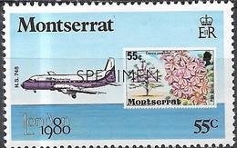 MONTSERRAT 1980 London 1980 International Stamp Exhibition - 55c - Hawker Siddeley HS.748 Aircraft & 1976 Stamp MNH - Montserrat