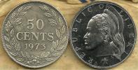 LIBERIA 50 CENTS WREATH FRONT WOMAN BACK 1973 EF KM17a.2 READ DESCRIPTION CAREFULLY !!! - Liberia