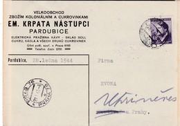 Böhmen Und Mähren Karte Aus   Pardubice 1944 - Bohemia & Moravia