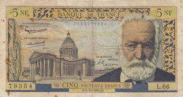 Billet 5 F Victor Hugo Du 2-11-1961 FAY 56.09 Alph. L.66 - 5 NF 1959-1965 ''Victor Hugo''