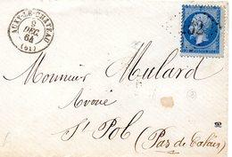 Pas-de-Calais - Env Sans Corresp Affr N° 22 Obl GC 252 - Càd Type 17 Auxy-le-Château (B) - 1849-1876: Période Classique