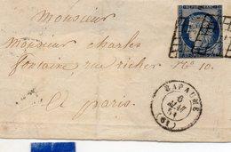 Pas-de-Calais - Devant De L Affr N° 4 (court) Obl Grille - Càd Type 15 Bapaume - 1849-1876: Période Classique