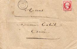 Pas-de-Calais - Env Sans Corresp Affr N° 24 Obl GC 455 - Càd Type 15 Bertincourt (triple Port) - 1849-1876: Période Classique