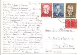 Zomerzegels 1954 N.V.P.H. 641 T/m 643 + V.Krimpen 1 Ct.Juiste Mengfrankering Utrecht>Linz AK Zandvoort - Lettres & Documents