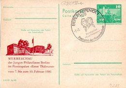 """(FC-7) DDR Amtl. Ganzsache M.priv.Zudruck""""Neptunbrunnen,10Pf.grün """"P79/C138a """"Werbeschau"""" SSt 7.2.81 - Postkarten - Gebraucht"""