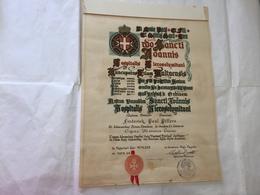 DIPLOMA ATTESTATO ORDINE MILITARE DI MALTA SMOM 1972 COCCARDA SIGILLO. - Diplomi E Pagelle