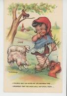 ENFANTS - Jolie Carte Fantaisie Petite Bergère Et Moutons Signée GOUGEON - Dessins D'enfants