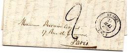 Pas-de-Calais - LAC Signée V. De Tramécourt (05/1849) Taxe 2 Décimes Façon Manuscrite - Càd Type 14 Hesdin - Marcophilie (Lettres)