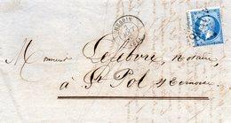Pas-de-Calais - LAC Affr N° 22 Obl GC 1798 - Càd Type 15 Hesdin (B) - 1849-1876: Période Classique