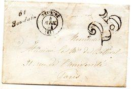 Pas-de-Calais - LSC (04/041854) Avec Cursive 61/Houdain - 1849-1876: Période Classique