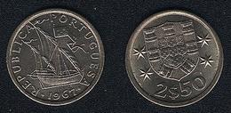Portugal, 2 1/2 Escudos 1967, UNC, Rare Date - Portugal