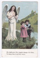 AK36 Children - Boy And Girl With An Angel - Children And Family Groups
