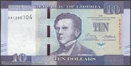 TWN - LIBERIA 32 - 10 Dollars 2016 Prefix AA UNC - Liberia