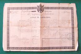 Congé De Libération Daté De 1871- Aude - Narbonne - 53ème R.I. - Protagoniste Dénommé Poulet De Gugney Aux Aulx - Documents