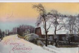 AP59 Greetings - A Merry Christmas - Snow Covered Farm - Christmas