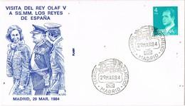 33565. Carta Servicio Filatelico MADRID 1984. Visita Rey Olaf V A Reyes España - 1931-Hoy: 2ª República - ... Juan Carlos I