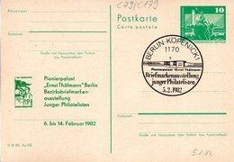 "(FC-7) DDR Amtl. Ganzsache M.priv.Zudruck""Neptunbrunnen,10Pf. Grün P79/C179 ""BM-Ausstellung J.Philatelisten"" SSt 5.2.82 - Postkarten - Gebraucht"
