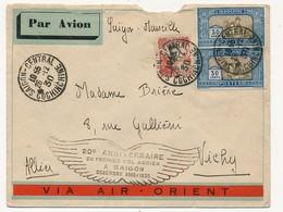 """INDOCHINE - Enveloppe Depuis Saïgon 1930 Cachet """"20eme Anniversaire Du Vol Aérien à Saïgon Dec 1910/1930"""" - Indochina (1889-1945)"""