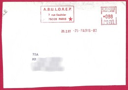 France 1981 Paris 9e - ABULOREP Bulletin Des Loges De La Région Parisienne. Franc-maçonnerie. EMA HAVAS Meter. - Francmasonería
