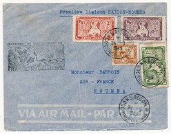 """INDOCHINE - Enveloppe Depuis Saïgon 1949 Cachet """"Ouverture Du Service Régulier France Nouvelle Calédonie"""" - Storia Postale"""