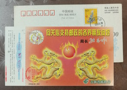 Relief Fresco Dragon,China 2000 Jinlin Post Lunar New Year Of Dragon Year Greeting Pre-stamped Card - Chinese New Year