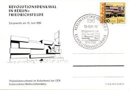 "(DDR-B1) DDR Sonderkarte ""REVOLUTIONSDENKMAL IN BERLIN-FRIEDRICHSFELDE""EF Mi 2509, SSt. 13.6.81 BERLIN-FRIEDRICHSFELDE 1 - [6] République Démocratique"