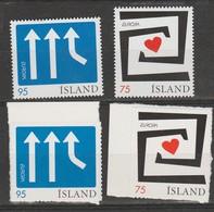 Islande Europa 2006 4 Valeurs N° 1056/1057 Et Les Autocollantes** Integration - Europa-CEPT