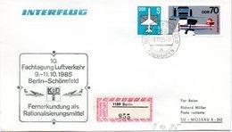 """(DDR-B2) DDR Sonderumschlag """"INTERFLUG 10. Fachtagung Luftverkehr Berlin"""" MiF Mi 2519,2831 SSt.9.10.85 BERLIN-SCHÖNEFELD - Briefe U. Dokumente"""