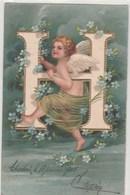 Angelot-Carte De L'alphabet  La Lettre   H--Carte En Relief--  Scan - Angels