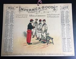 IMPERMEA BOOTS Rue Commerce Calendrier Publicitaire Paris Camis 1902 Militaire Traité Paix Leurre Beurre Guillaume ? - Grand Format : 1901-20
