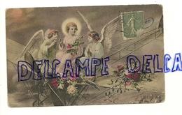 Enfant Jésus Et Deux Anges Assis Sur Un Avion. Fleurs, Gui.  Renault. 1918. Luxographie. Série 65 - Anges