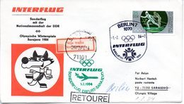 """(DDR-B2) DDR Sonderumschlag """"INTERFLUG Sonderflug Mit Der Nationalmanschaft Der DDR"""" EF Mi 2841, SSt.1.2.84 BERLIN 7 - Briefe U. Dokumente"""