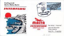 """(DDR-SB) DDR Sonderkarte """"INTERFLUG Erstflug IL62 Berlin-Malta-Berlin"""" EF Mi 3163, SSt.26.3.89 BERLIN 7 - Briefe U. Dokumente"""