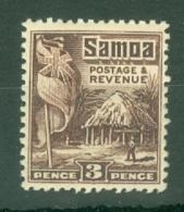 Samoa: 1921   Native Hut   SG158    3d  [Perf: 14 X 13½]   MH - Samoa