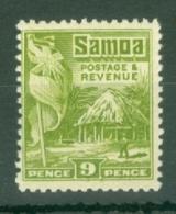 Samoa: 1921   Native Hut   SG163    9d  [Perf: 14 X 13½]   MH - Samoa