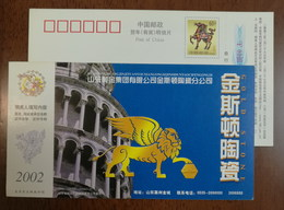 Italy Leaning Tower Of Pisa,Lion With Wings,CN 02 Gold Stone Construction Ceramics Production Advert Pre-stamped Card - Churches & Cathedrals