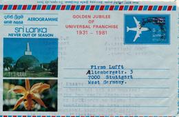 KATANA / SRI LANKA - 1981  , Aerogramme  Golden Jubilee  - Nach Stuttgart - Sri Lanka (Ceylon) (1948-...)