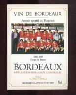 Etiquette De Vin Bordeaux  -   Coupe De France  Avenir Sportif De Plouvien   1988/1989  -  Thè Me Football - Soccer