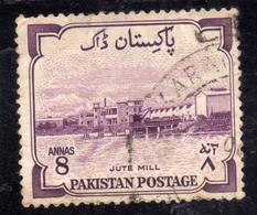 PAKISTAN 1955 INDEPENDENCE ANNIVERSARY JUTE MILL 8a USED USATO OBLITERE - Pakistan