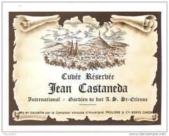 Etiquettes De Vin -  Cuvée Réservée à Jean Castaneda International Gardien De But AS Saint  Etienne -  Foot - Football