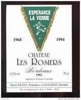 Etiquette De Vin Bordeaux - Chateau Les Rosiers  - Espérance La Verrie (85)   1968/1994 - Thème Foot - Soccer